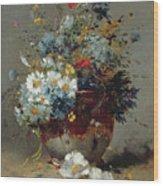 Daisies And Cornflowers Wood Print