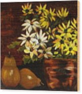 Daisies And Pears Wood Print