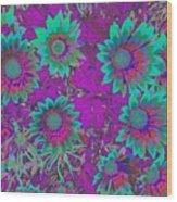 Pop Art Daisies Aqua Wood Print