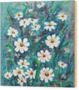 Daisies Golden Eyed Wood Print