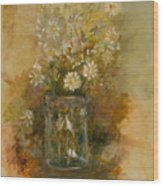Daisies In A Jar Wood Print