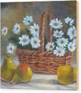 Daisies In Basket Wood Print