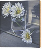 Daisies In Drinking Glass No. 2 Wood Print