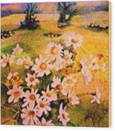 Daisies In The Sun Wood Print
