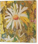 Daisies In The Wind Vii Wood Print