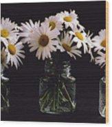 Daisies On Black Wood Print