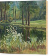 Daisies On The Golf Course Wood Print