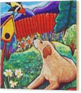Daisy And The Tanager Wood Print