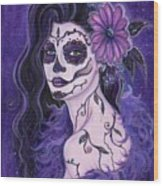 Daisy Day Of The Dead Wood Print