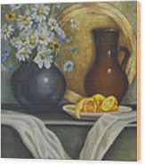 Daisy Stillife With Oranges Wood Print