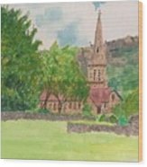 Edale Church And Beautiful Landscape Wood Print