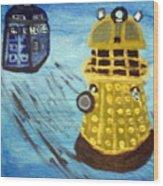 Dalek On Blue Wood Print