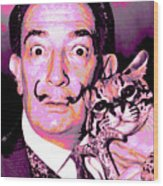 Dali With Ocelot And Cane Wood Print