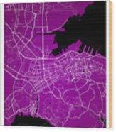 Dalian Street Map - Dalian China Road Map Art On A Purple Backgro Wood Print