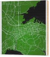Dalian Street Map - Dalian China Road Map Art On Green Backgro Wood Print