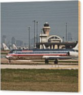 Dallas Airport And Skyline Wood Print