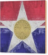 Dallas City Flag Wood Print