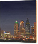 Dallas Skyline At Dusk Big Moon Night  Wood Print