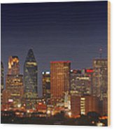 Dallas Skyline At Dusk  Wood Print