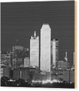 Dallas Skyline Bw 113017 Wood Print