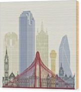 Dallas Skyline Poster Wood Print