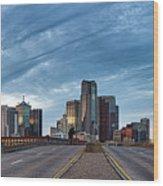 Dallas View At Dusk Wood Print