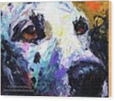Dalmatian Dog Close-up Painting By Wood Print