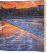 Dam Reflection Wood Print