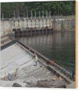 Dam Repairs  Along The Androscoggin River Wood Print