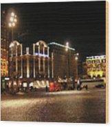 Dam Square Late Night - Amsterdam Wood Print