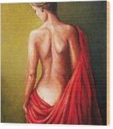 Dama De Rojo Wood Print
