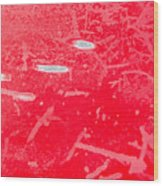 Damaged Red Metal Wood Print