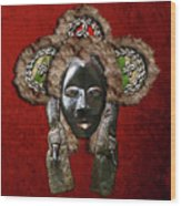 Dan Dean-gle Mask Of The Ivory Coast And Liberia On Red Velvet Wood Print by Serge Averbukh