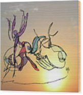 Dance At Sunrise Wood Print