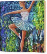 Dance In The Rain Of Color  Wood Print