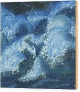 Dance Of The Stormy Sea Wood Print