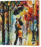 Dance Under The Rain Wood Print