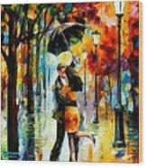 Dance Under The Rain Wood Print