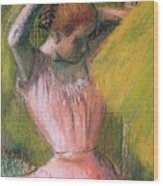 Dancer Arranging Her Hair Wood Print by Edgar Degas