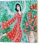 Dancer In Red Sari Wood Print
