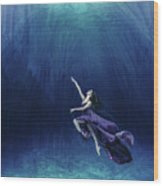 Dancer In The Water  Wood Print