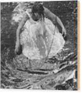 Dancer In White Dress In Shallow Water Wood Print