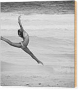Dancer On Beach Wood Print
