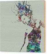 Dancer Watercolor Splash Wood Print