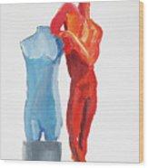 Dancer With Mannekin Wood Print