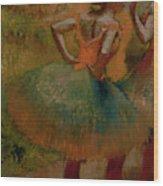 Dancers Wearing Green Skirts Wood Print by Edgar Degas