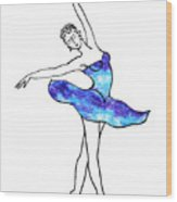 Dancing Ballerina Frosted Blue Wood Print