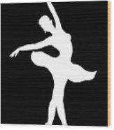 Dancing Ballerina White Silhouette Wood Print