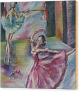 Dancing Ballerinas Wood Print
