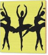 Dancing Ballerinas Silhouette Wood Print